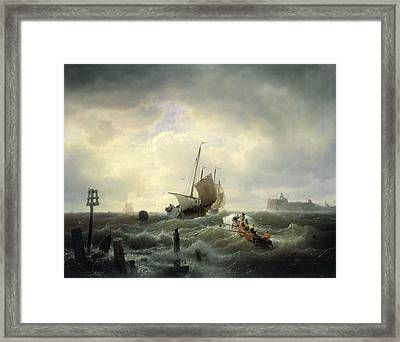 The Entrance To The Harbour At Hellevoetsluys Framed Print by Andreas Achenbach