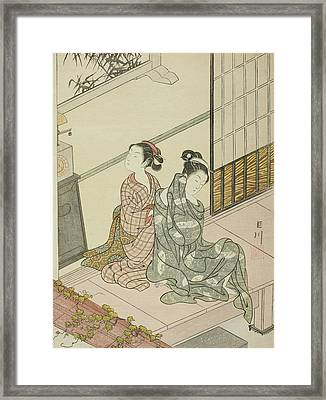The Evening Bell Of The Clock  Framed Print by Suzuki Harunobu