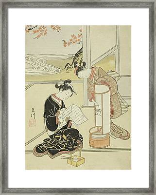 The Evening Glow Of A Lamp Framed Print by Suzuki Harunobu