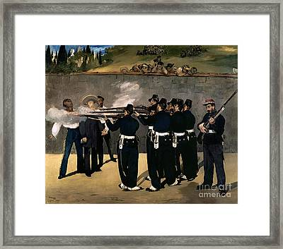 The Execution Of The Emperor Maximilian Framed Print by Edouard Manet