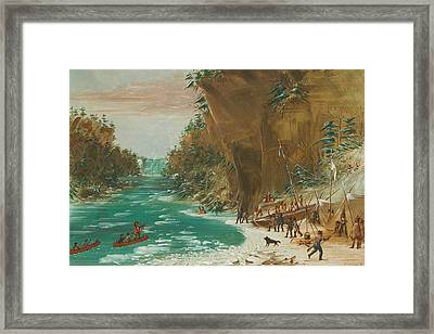 The Expedition Encamped Below The Falls Of Niagara Framed Print by Mountain Dreams