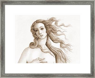 The Face Of A Goddess In Sepia Framed Print by Stevie the floating artist