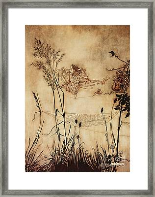 The Fairy's Tightrope From Peter Pan In Kensington Gardens Framed Print by Arthur Rackham