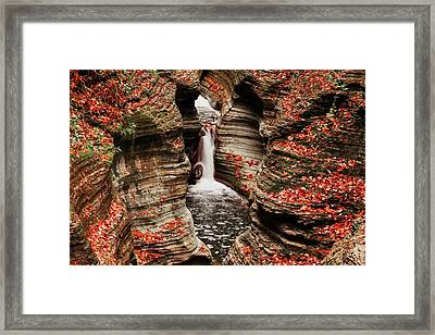 The Fall Colours Of Watkins Glen  Framed Print by Hany J