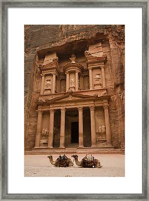 The Famous Treasury With Two Camels Framed Print by Taylor S. Kennedy