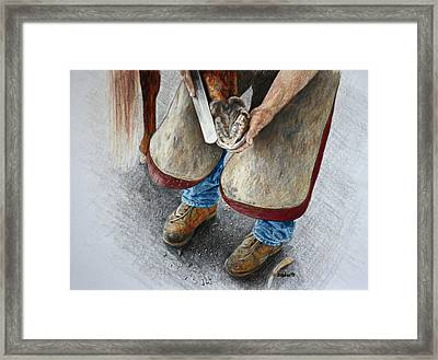 The Farrier Framed Print by Kathy Roberts