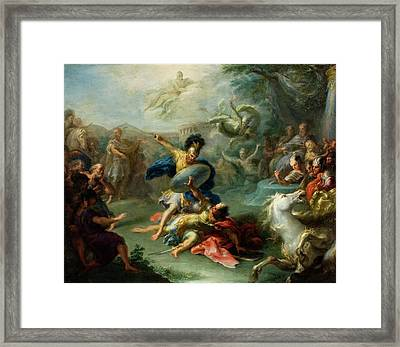 The Fight Between Aeneas And King Turnus Framed Print by Giacomo del Po