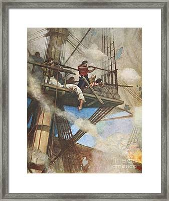 The Fight In The Fire-tops Against An English Ship Framed Print by Newell Convers Wyeth