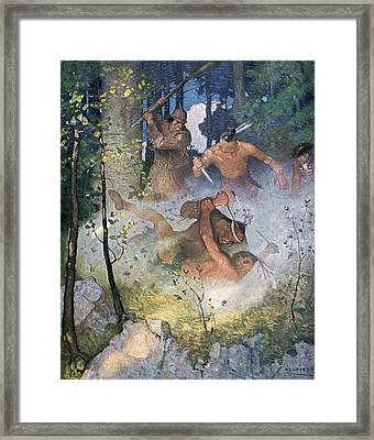 The Fight In The Forest Framed Print by Newell Convers Wyeth