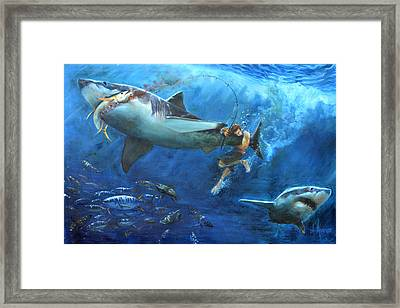 The Fight Framed Print by Tom Dauria