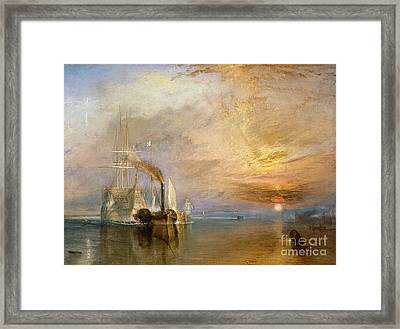 The Fighting Temeraire Tugged To Her Last Berth To Be Broken Up Framed Print by Joseph Mallord William Turner
