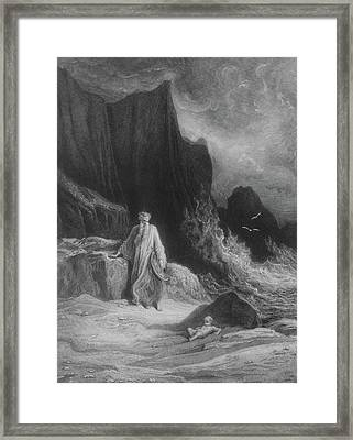 The Finding Of King Arthur Framed Print by Gustave Dore