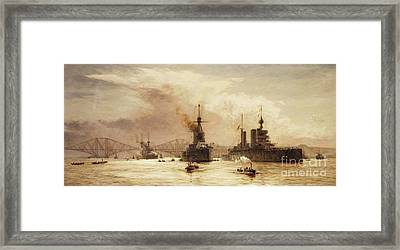 The First Battle Squadron Leaving The Forth For The Battle Of Jutland Framed Print by William Lionel Wyllie