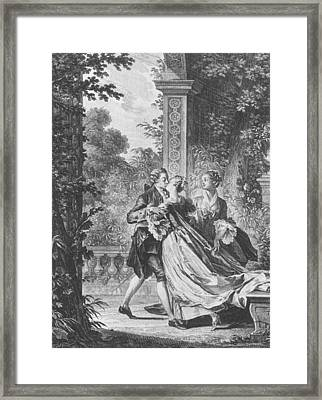 The First Kiss Of Love Framed Print by Jean Michel the Younger Moreau