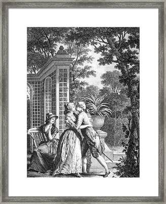 The First Kiss Of Love Framed Print by Nicolas Andre Monsiau