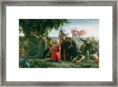 The First Landing Of Christopher Columbus Framed Print by Dioscoro Teofilo Puebla Tolin