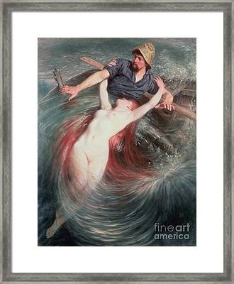 The Fisherman And The Siren Framed Print by Knut Ekvall