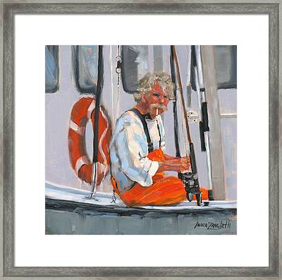 The Fisherman Framed Print by Laura Lee Zanghetti