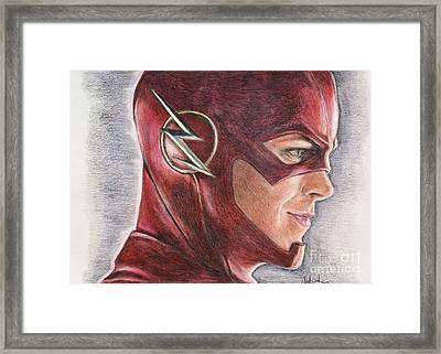 The Flash / Grant Gustin Framed Print by Christine Jepsen