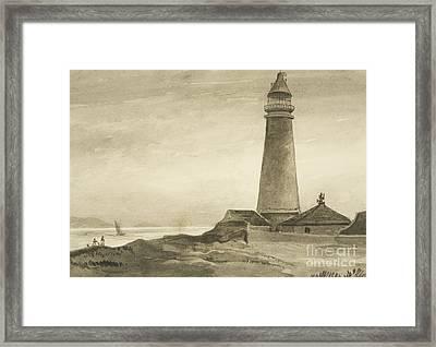The Flat Holm Lighthouse Framed Print by John Reverend Eden