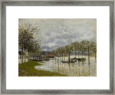 The Flood On The Road To Saint Germain Framed Print by Alfred Sisley