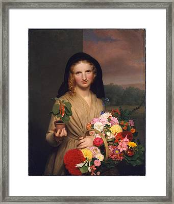 The Flower Girl Framed Print by Charles Cromwell