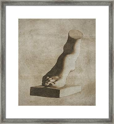 The Foot Of The Medici Venus - Sepia Framed Print by Stevie The floating artist
