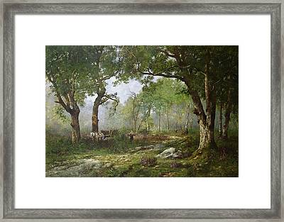 The Forest Of Fontainebleau Framed Print by Leon Richet