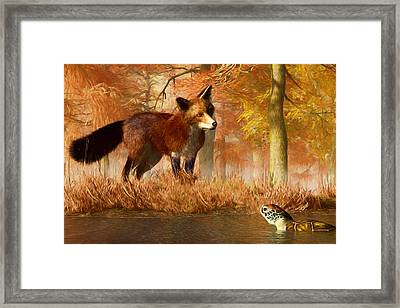 The Fox And The Turtle Framed Print by Daniel Eskridge