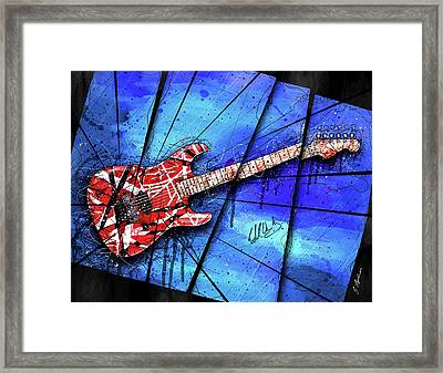 The Frankenstrat On Blue I Framed Print by Gary Bodnar