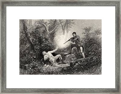 The Fratricide At Wyoming From A 19th Framed Print by Vintage Design Pics