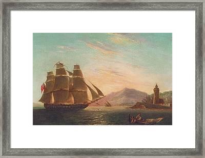 The Frigate Hms Pearl Framed Print by English School