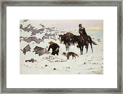 The Frozen Sheepherder Framed Print by Frederic Remington