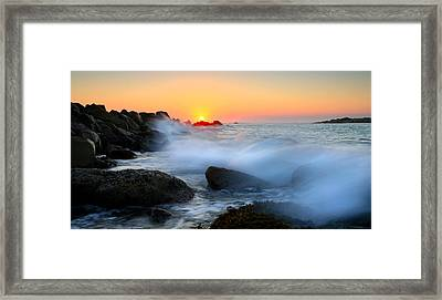 The Fury Of The Sea Framed Print by Mike  Dawson