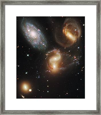 The Galaxies Of Stephans Quintet Framed Print by Nasa/Esa