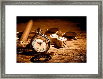 The Gambler's Watch - Sepia Framed Print by Olivier Le Queinec