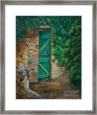 The Garden Gate In Cinque Terre Framed Print by Charlotte Blanchard