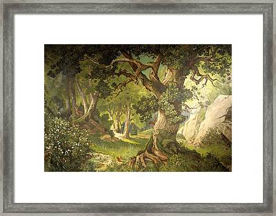 The Garden Of The Magician Klingsor, From The Parzival Cycle, Great Music Room Framed Print by Christian Jank