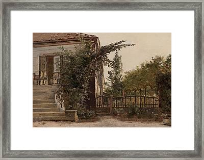 The Garden Steps Framed Print by Christen Schjellerup Kobke