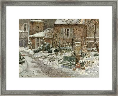 The Garden Under Snow Framed Print by Eugene Chigot