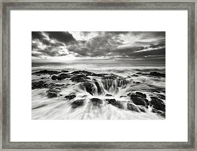 The Gate To The Dungeon Monocromatic Framed Print by Eduard Moldoveanu