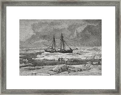 The Germania Stuck In The Pack Ice Framed Print by Vintage Design Pics