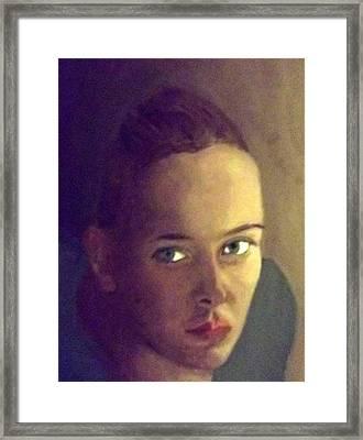 The Girl In Light And Shadow Framed Print by Peter Gartner