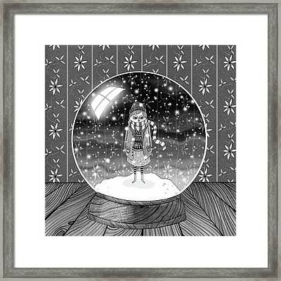 The Girl In The Snow Globe  Framed Print by Andrew Hitchen