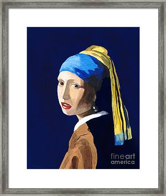 Framed Print featuring the painting The Girl With A Pearl Earring After Vermeer by Rodney Campbell