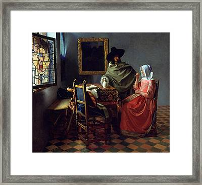 The Glass Of Wine Framed Print by Jan Vermeer