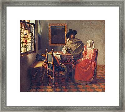 The Glass Of Wine Framed Print by Jan Vermeer