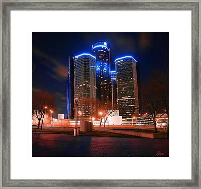 The Gm Renaissance Center At Night From Hart Plaza Detroit Michigan Framed Print by Gordon Dean II
