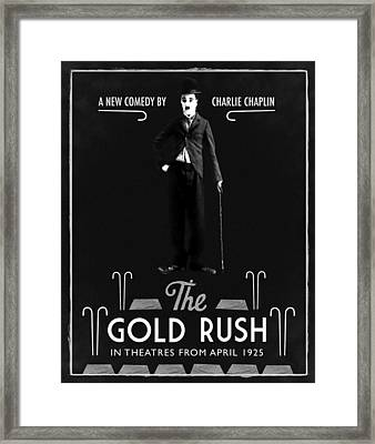 The Gold Rush Charlie Chaplin 1925 Black Framed Print by Digital Reproductions