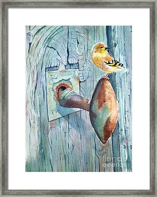 The Goldfinch And Blue Framed Print by Patricia Pushaw